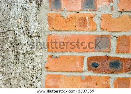 The photo of the  old grunge wall , left side is concrete or stucco and the main part -  different coloured bricks. Can be used for different design needs.