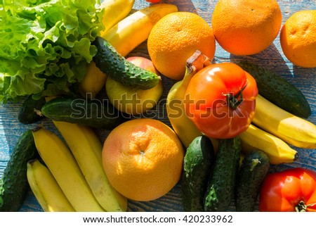 The photo shows the fruits and vegetables