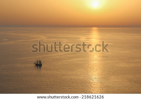 The photograph shows a gold sunset. - stock photo