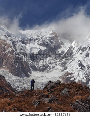 The photographer shooting Annapurna from base camp