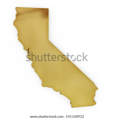 The photorealistic golden shape of California isolated on white (series) . The rendering even has tiny scratches - stock photo