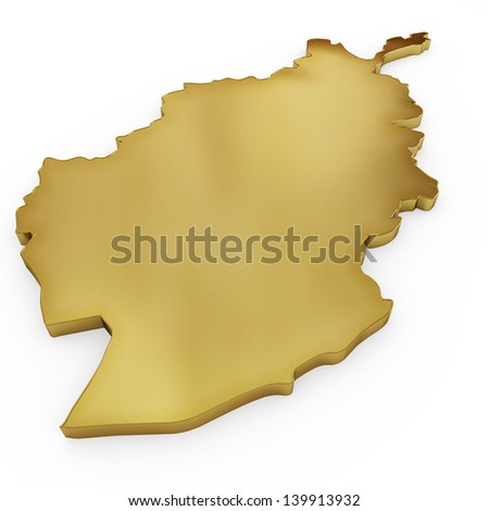 The photrealistic golden shape of Afghanistan isolated on white (series) . The rendering even has tiny scratches - stock photo