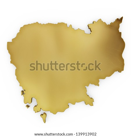 The photrealistic golden shape of Cambodia isolated on white (series) . The rendering even has tiny scratches - stock photo