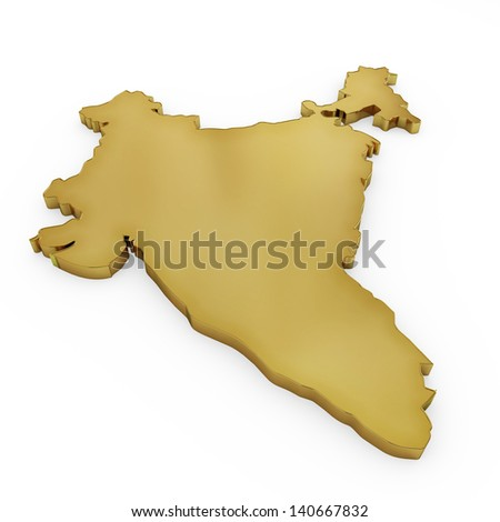 The photrealistic golden shape of India isolated on white (series) . The rendering even has tiny scratches - stock photo