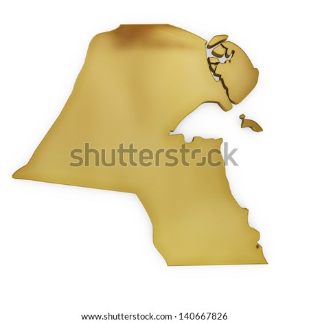 The photrealistic golden shape of Kuwait isolated on white (series) . The rendering even has tiny scratches - stock photo