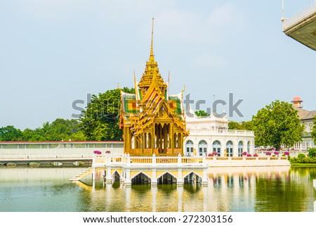 The Phra Thinang Aisawan Thiphya-Art Pavilion at Bang Pa-In Palace, Thailand. - stock photo