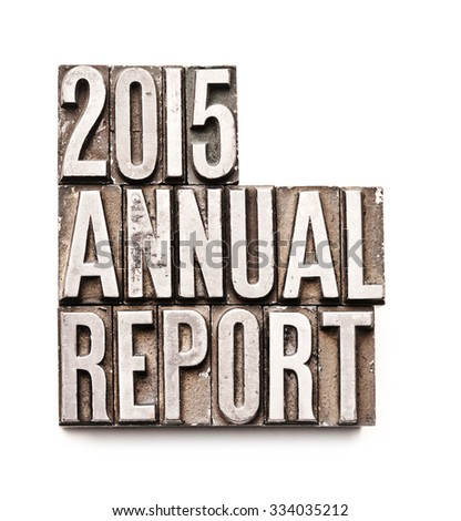 "The phrase ""2015 Annual Report"" in letterpress type. Cross processed, narrow focus."