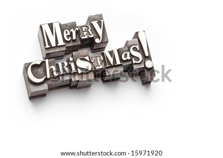 "The phrase ""Merry Christmas"" done in letterpress type - stock photo"