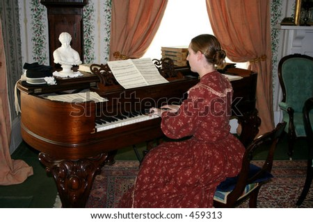 The pianist lady - stock photo