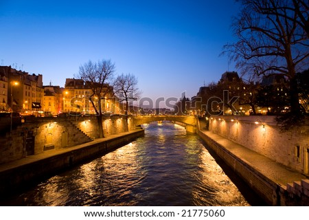 The picture is made in the evening on the Sena river in Paris - stock photo
