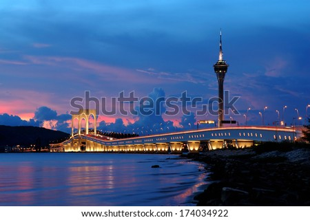 The picture of bridge and tower of Macau, China