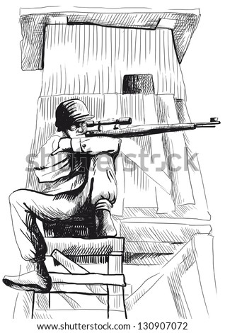 The picture on the theme of underground comics - German para sniper - Black outlines on white. (Hand drawing)