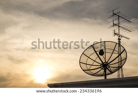 The Picture Satellite dish on Evening light. - stock photo