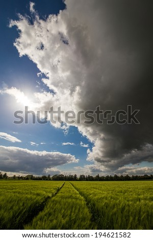 The picture shows a storm tbrewing over a field. - stock photo