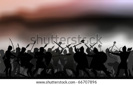 the picture shows the battle. Silhouettes of soldiers depicted in the haze on the background of the terrible war of heaven - stock photo