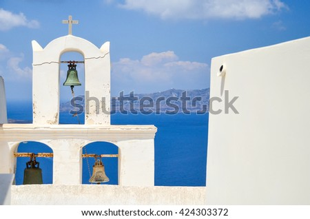 the picturesque island of Santorini in Greece - stock photo