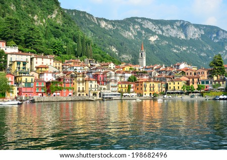 the picturesque lake side village of Varenna on lake como, Italy - stock photo