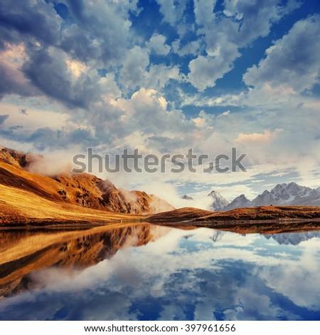 The picturesque landscape in the mountains. Upper Svaneti, Georgia, Europe. Caucasus mountains. - stock photo