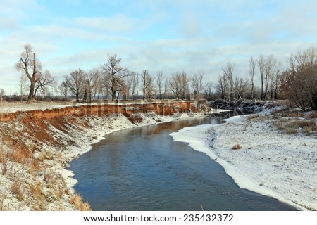 The picturesque landscape of the freezing river and oak trees without leaves on snowy shore on a sunny day in early winter
