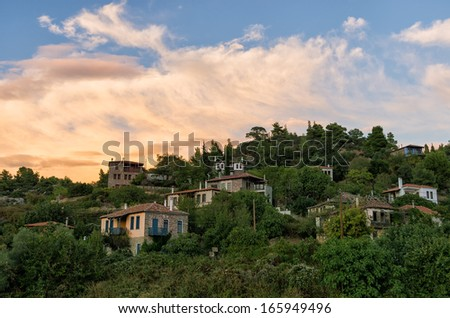 The picturesque village of Parthenonas, in Sithonia, Chalkidiki, Greece, at dusk colors - stock photo