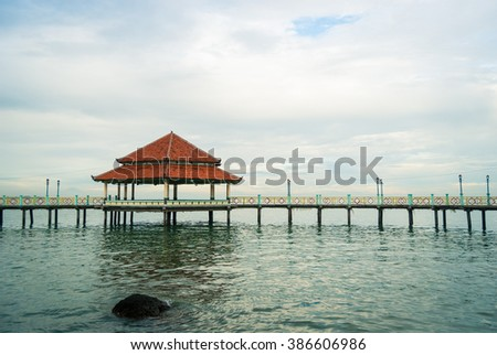 The pier from the Jepara Ocean Park, Central Java, Indonesia.