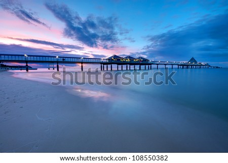 The pier of Heringsdorf at sunset