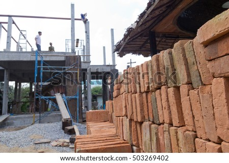 The Pile of Brick for Building Construction  (Intently focus on The Bricks)