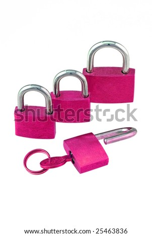 The pink locks - stock photo
