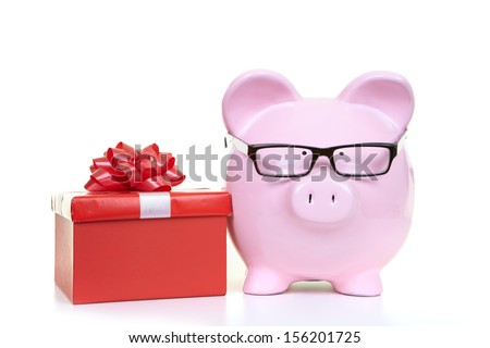 The pink  pig bank on a white background