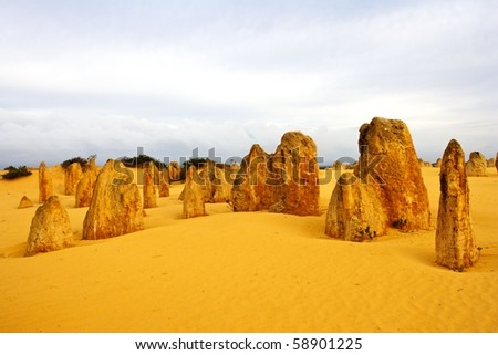 The Pinnacles Desert in the heart of the Nambung National Park, Western Australia. - stock photo