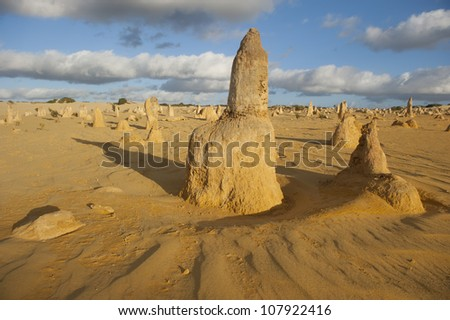 The Pinnacles or Nambung National Park, some 200 kilometres north of Perth in Western Australia, is a popular tourist destination, with desert sand dunes and thousands of relicts of a former forest.
