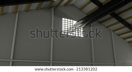 The pipe coming out of the open hangar, 3d render - stock photo