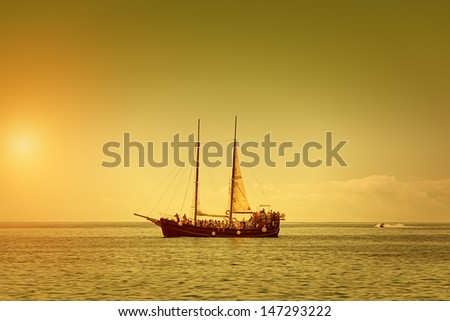 The Pirate Ship on a Summer Dusk - stock photo