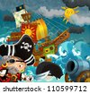 The pirates - illustration for the children 6 - stock vector