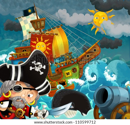 The pirates - illustration for the children 6 - stock photo