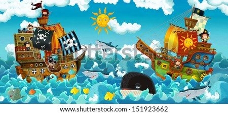 The pirates on the sea - battle - illustration for the children - stock photo