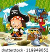 The pirates, treasure hunt - illustration for the children - stock photo