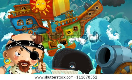 The pirates - weapons - and the ships - illustration for the children 3 - stock photo