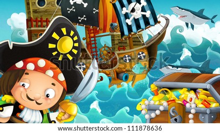 The pirates - weapons - and the ships - illustration for the children 21 - stock photo