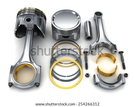The piston of the machine (done in 3d)  - stock photo