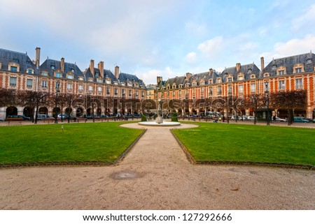 The Place des Vosges in Paris City, France - stock photo