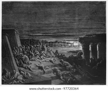 The plague of darkness strikes Egypt - Picture from The Holy Scriptures, Old and New Testaments books collection published in 1885, Stuttgart-Germany. Drawings by Gustave Dore. - stock photo