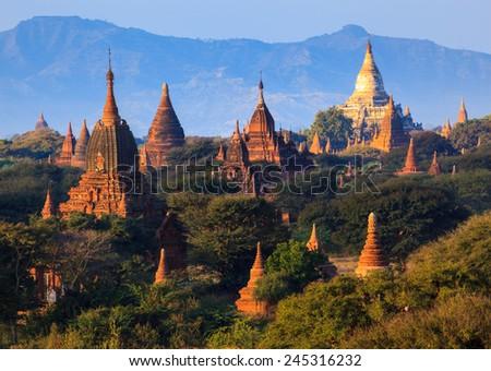 The  plain of Bagan at sunrise, Mandalay, Myanmar - stock photo