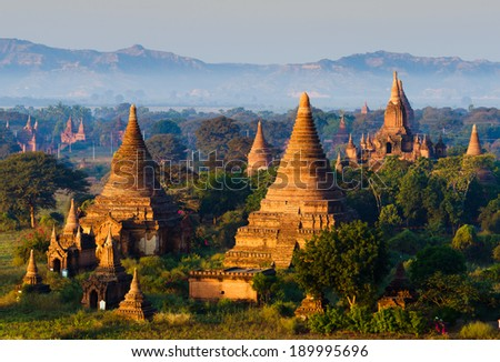 The plain of Bagan(Pagan), Mandalay, Myanmar - stock photo