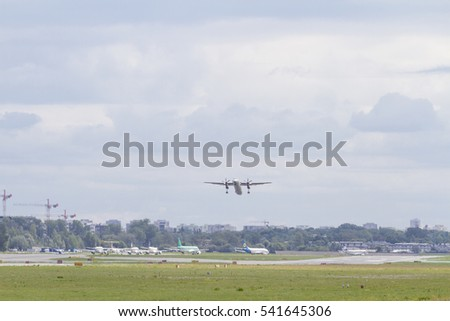 The plane company EUROLOT flies up from the Warsaw airport on the day of August 15, 2016.