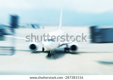 The plane is about to take off  - stock photo