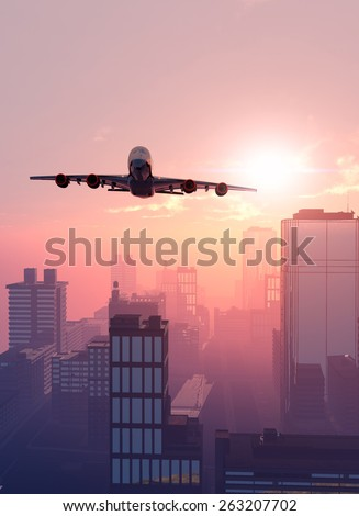 The  planeon a background a city - stock photo