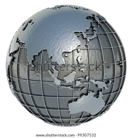 The Planet Earth (Asia Oceania) made of metal on a white background. - stock photo