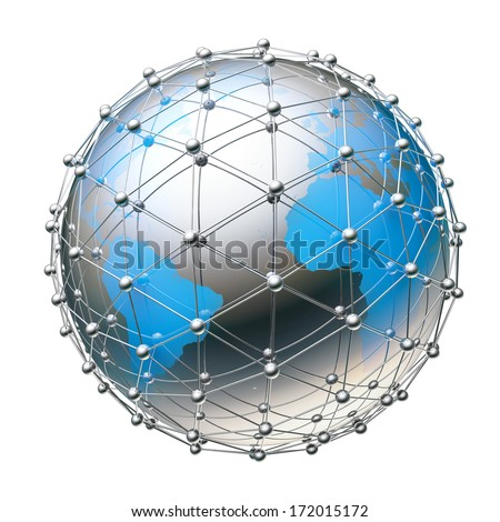 The planet earth surrounded by a grid of silver spheres and tubes