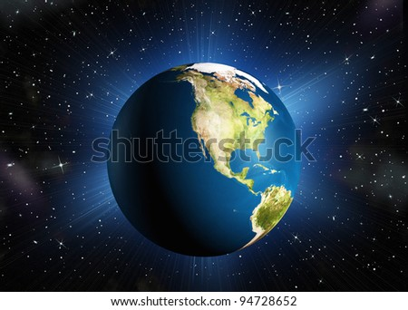 The planet earth.The North America. High-quality 3d rendering mother Earth with back illumination. Space with stars - stock photo